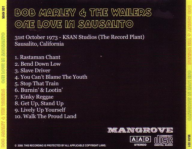 Bob Marley The Wailers One Love In Sausalito 1CD GiGinJapan
