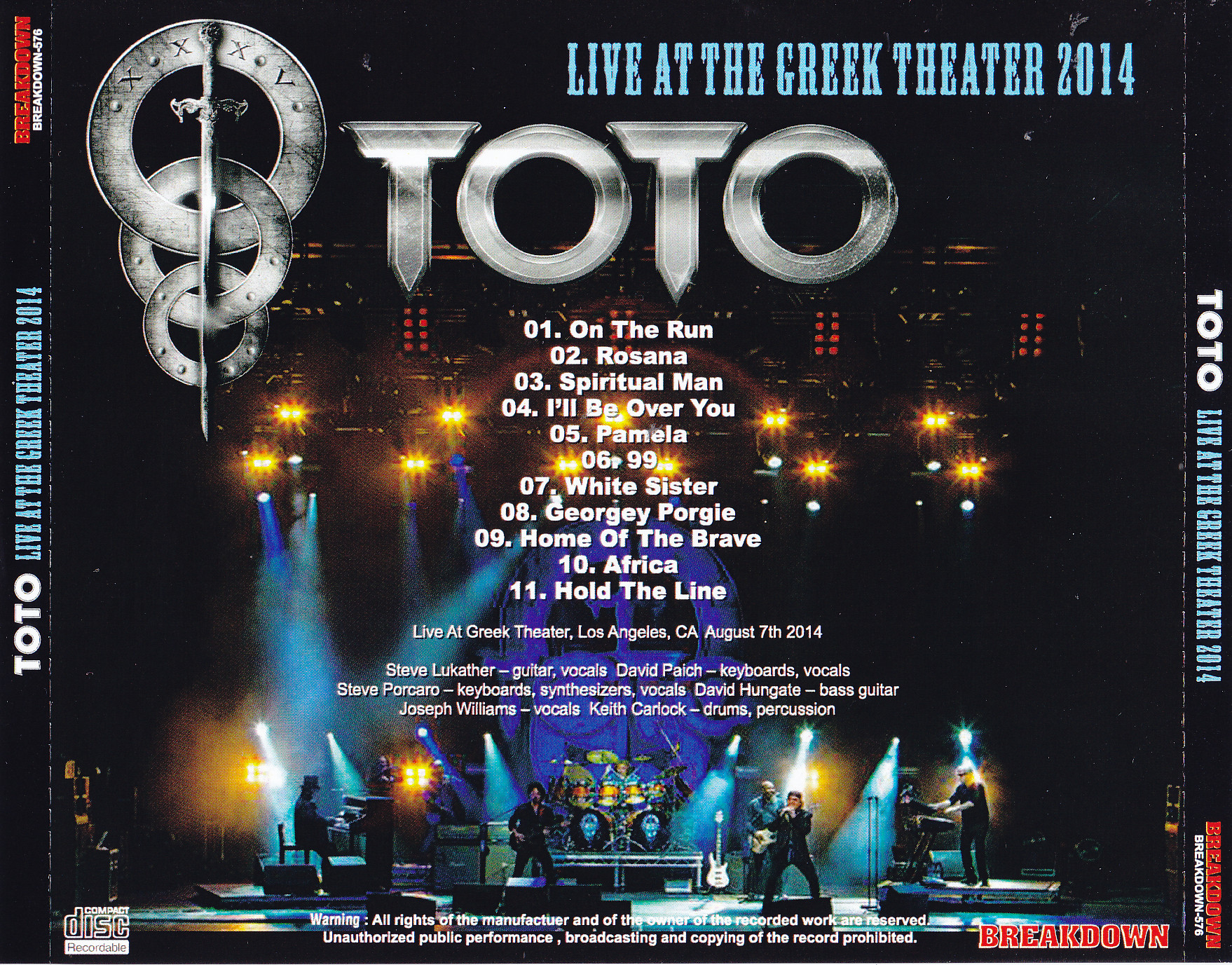 Toto / Live At The Greek Theater 2014 / 1CDR – GiGinJapan
